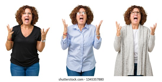 Collage of middle age senior woman over white isolated background crazy and mad shouting and yelling with aggressive expression and arms raised. Frustration concept.