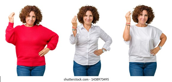Collage of middle age senior woman over white isolated background Doing Italian gesture with hand and fingers confident expression