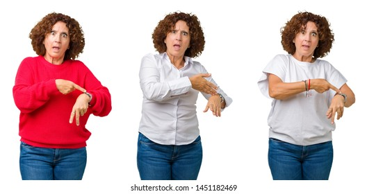 Collage of middle age senior woman over white isolated background In hurry pointing to watch time, impatience, upset and angry for deadline delay