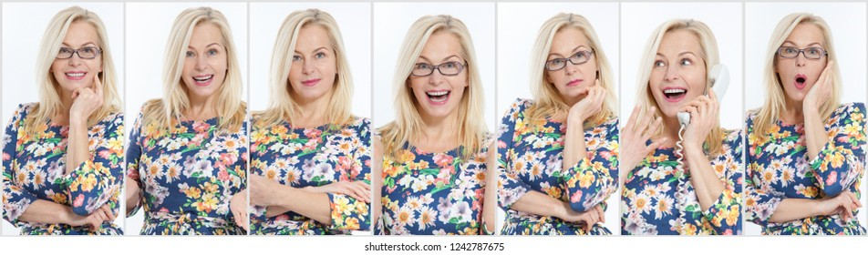Collage of  middle aged woman expressing different emotions.