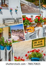 Collage of Mijas with flower pots in facades. Andalusian white village. Costa del Sol
