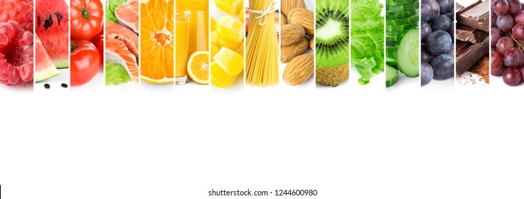 Collage of mixed fresh color healthy food. Food concept. Fruits, vegetables, chocolate, almond, pasta, orange juice, salmon.