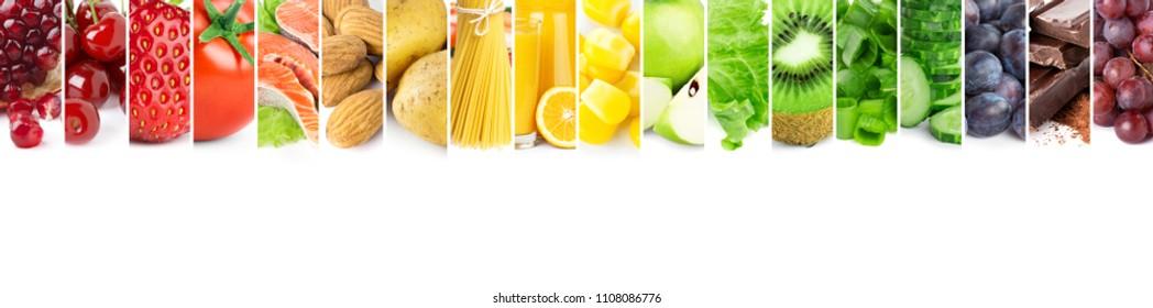 Collage of mixed fresh color ripe food. Food concept. Fruit, vegetable, chocolate, porridge, almonds, pasta, candy, orange juice, salmon.
