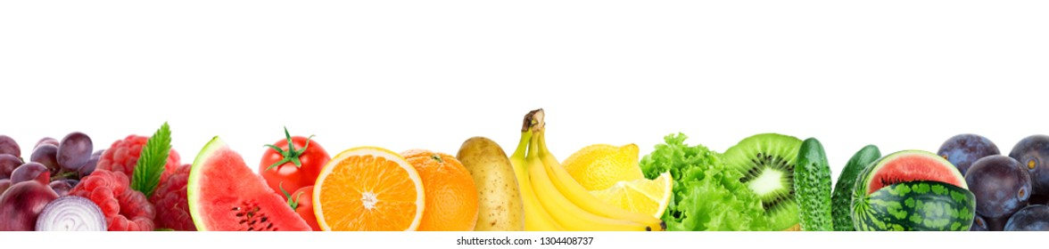 Collage of mixed fruit and vegetable. Fresh color fruits and vegetables. Food concept