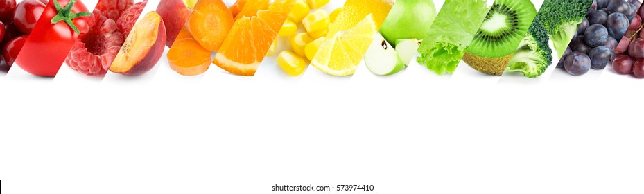 Collage of mixed fruits and vegetables. Fresh food. Concept