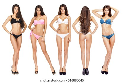 Collage models in a variety of bathing suits. Full length portrait of young women wearing underwear, isolated on white background
