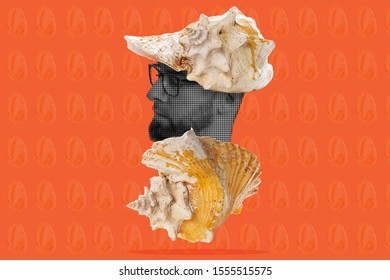 Collage of modern art. A man's head with glasses peeking out of a seashell, with a seashell on his head instead of a hat. Orange background