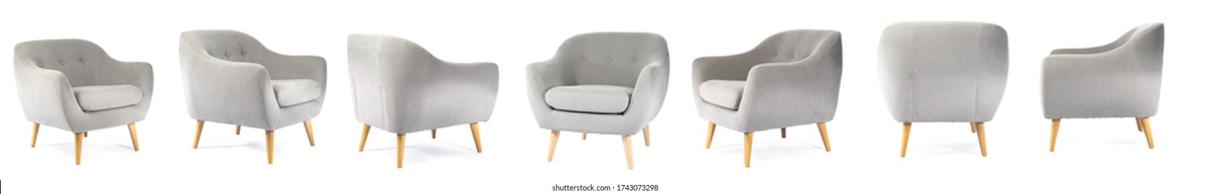 Collage with modern comfortable armchair on white background
