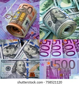 Collage .Money background. Euro and dollars currency as a background.