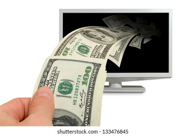 Collage - a monitor produces, collects cash dollars.