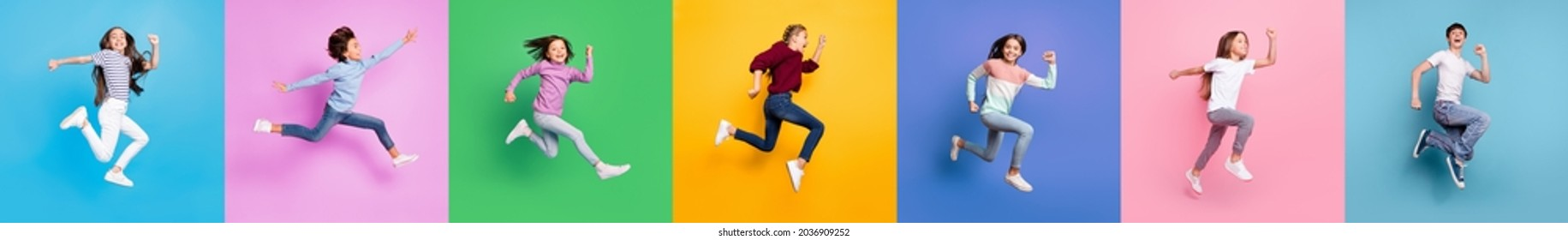 Collage montage photo of different race fun crazy kids boys girls jump run fast isolated over colored background - Shutterstock ID 2036909252