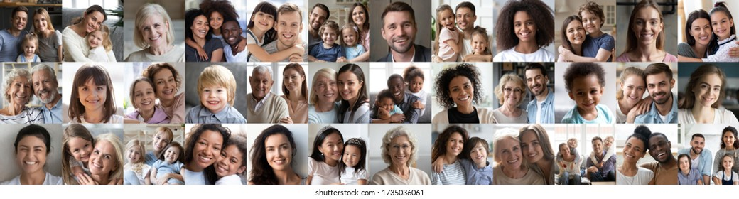 Collage mosaic of many happy multiracial people couples and families, old young generation adults and kids of diverse ethnicity faces headshots closeup portraits. Horizontal banner for website design.