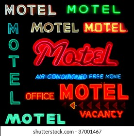 Collage of motel neon signs isolated on black background