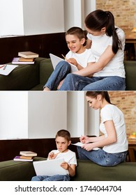 Collage of mother sitting near pensive and cheerful son while drawing on couch