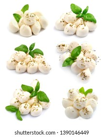 Collage of mozzarella isolated on white background with bazil.