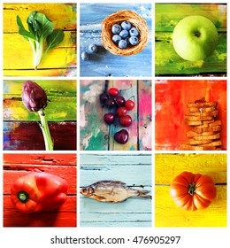 Collage of multicolor fruit and vegetable photo. Colors - blue, yellow, green, red