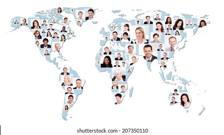 Collage of multiethnic business people on world map representing global business.