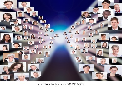 Collage of multiethnic business people representing globalization