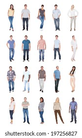 Collage of multiethnic people in casuals over white background