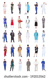 Collage of multiethnic people with various occupations standing against white background