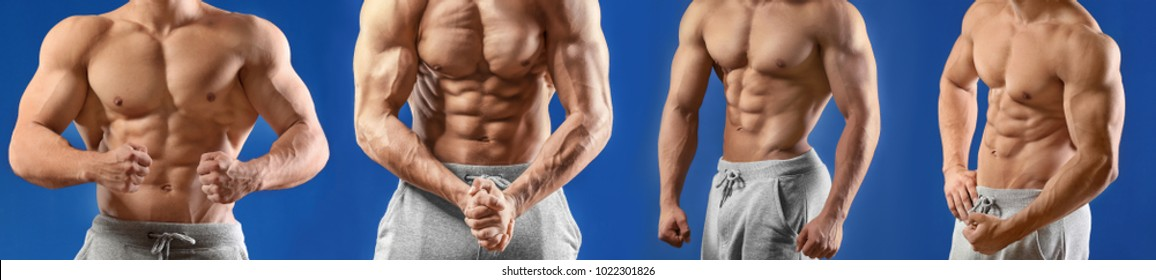 Collage with muscular young bodybuilder on color background