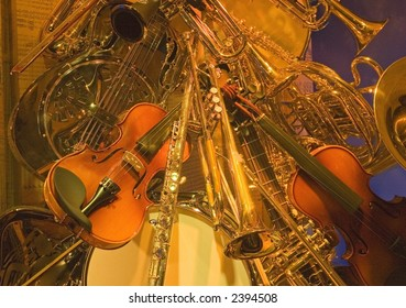 Collage of musical instruments.