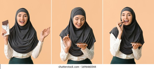 Collage with Muslim woman eating tasty chocolate and candies on color background - Shutterstock ID 1696460344