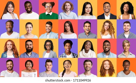 Collage Of Muticultural People Portraits With Female And Male Faces Smiling To Camera On Colorful Backgrounds. Diversity Concept