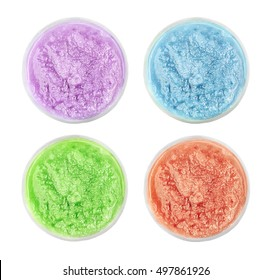 Collage of natural scrubs in container on white background