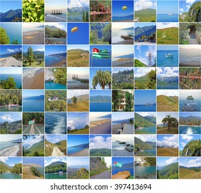 Collage with nature and sights of Abkhazia. Black sea, Gagra, lake Riza, mountains of the Caucasus.