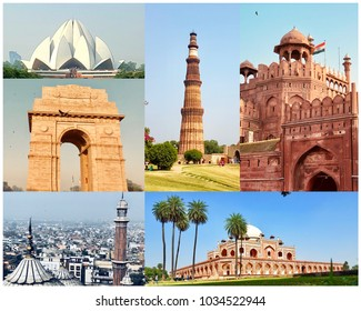 Collage of New Delhi's famous monuments. Lotus temple, India gate,Jama Masjid, Qutb minar, Red Fort, Humayun's Tomb .These are historical buildings of New Delhi,India