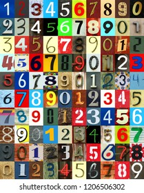 Collage of newspaper numbers in different colours and different side