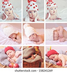 Collage of nine images with babies and knitted things indoors