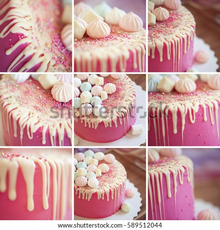 Collage Of Nine Images With Pink Birthday Cake Closeup Celebration Selective Focus