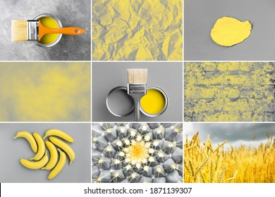 Collage with nine photos in yellow and gray colors. Backgrounds and objects.