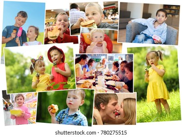 Collage of nineteen eating people (twelve models), children with ice cream, fast food