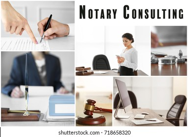 Collage for notary consulting concept