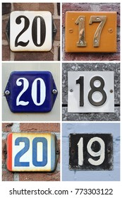 A collage of numbers 2017, 2018 and 2019 composed of house numbers