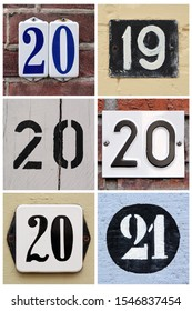 A collage of numbers 2019, 2020 and 2021 composed of house numbers.