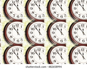 Collage of old clock face taken closeup as abstract background.