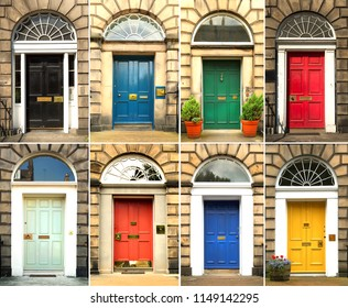 Collage of old and colorful doors from Edinburg, Scotland