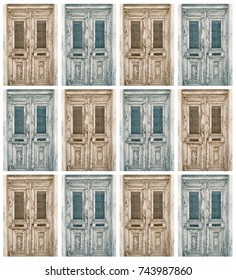 Collage of old doors