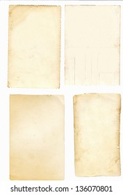 Collage of old paper isolated on a white