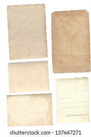 Collage of old paper isolated on white background