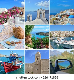 Collage on the theme of Travel Greece: Crete, Santorini, landmark, boat, sea.