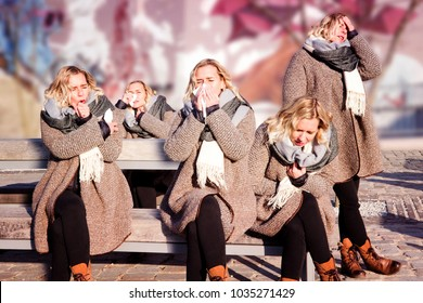 collage of one person with a cold in multiple positions outdoors