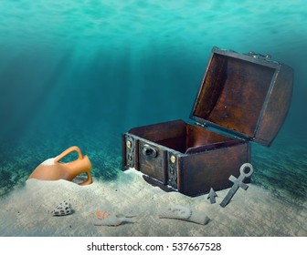 collage of opened empty old wooden treasure chest submerged underwater world with anchor, amphora and light rays, close up, copy space