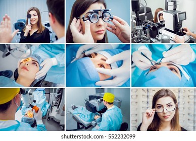 Collage of operation on the eye. Cataract surgery