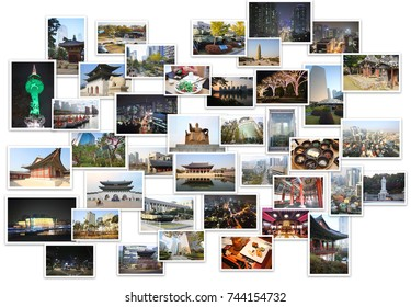 Collage with pagodas, TV tower, skyscrapers, monuments, garden of Seoul, South Korea