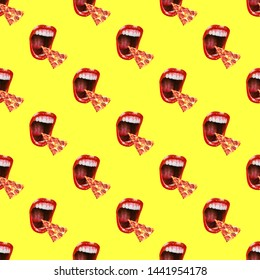 A collage of paintings of modern art. Shouts a mouth to the pizza lover. Seamless minimal pattern. Use for t-shirts, greeting cards, wrapping paper, posters.